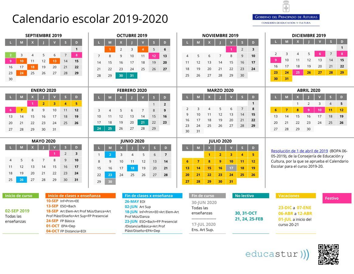 Calendario 2020 Y 2019.Calendario Escolar 2019 2020 En Asturias El Comercio