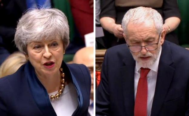 Resultado de imagen para Fotos de Theresa May, y el líder laborista, Jeremy Corbyn,